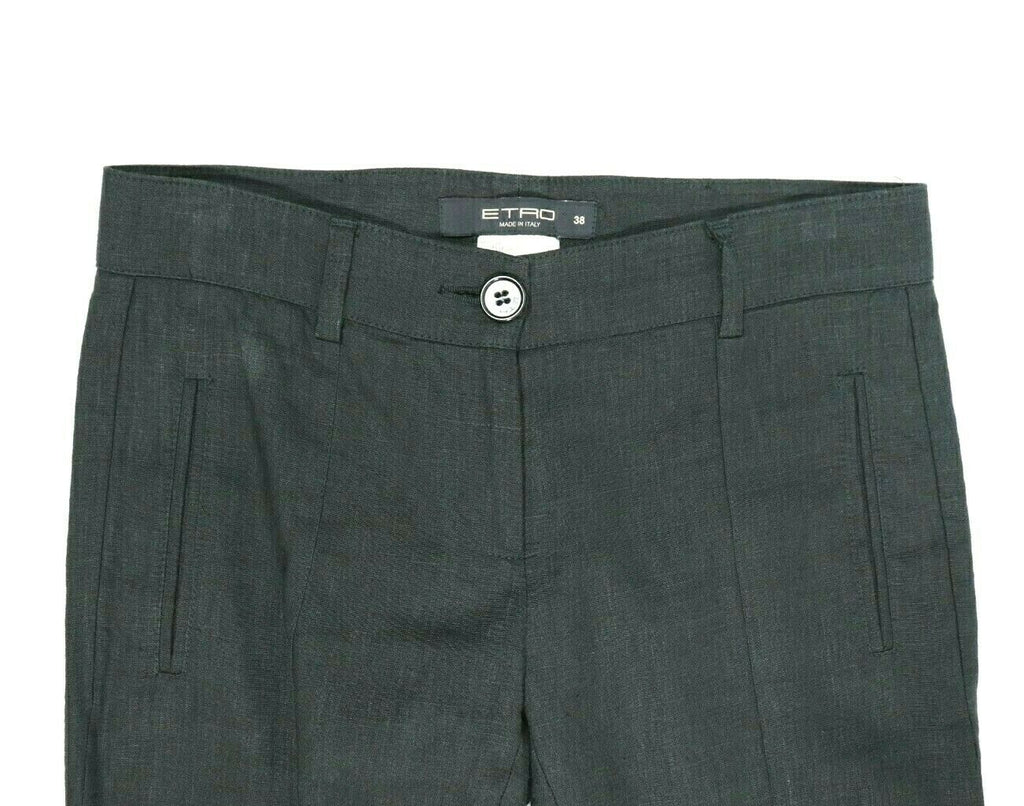 ETRO Womens Size 38 Black Pants Trousers Made in Italy Linen Pockets Slim Skinny