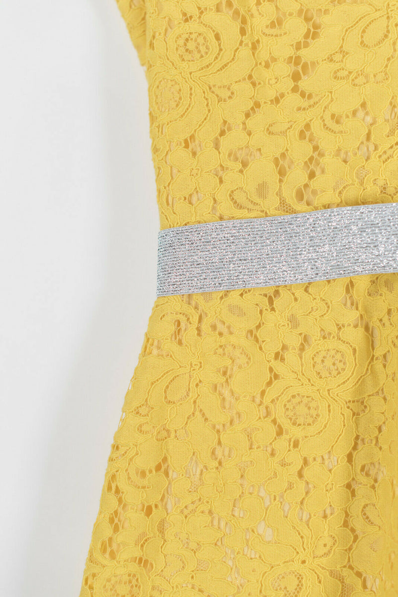 Imperial Womens Medium Yellow Dress Pencil Skirt Lace Sparkle Belt Midi NWT $325