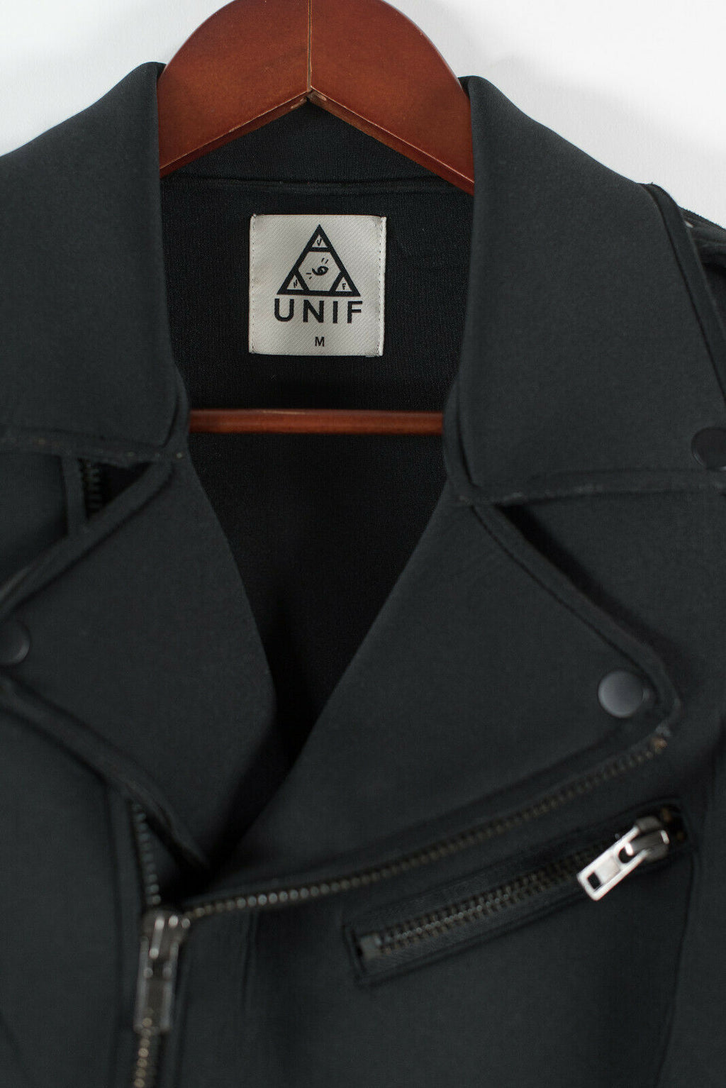 UNIF Womens Medium Black Jacket Boyfriend Moto Scuba Neoprene Zippered Pocket