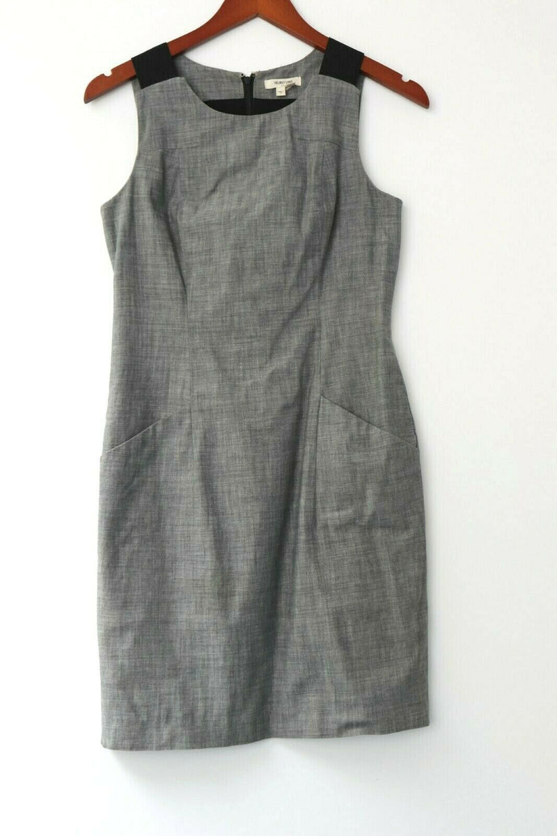 Helmut Lang Womens Size 2 Grey Knee Length Dress With Pockets