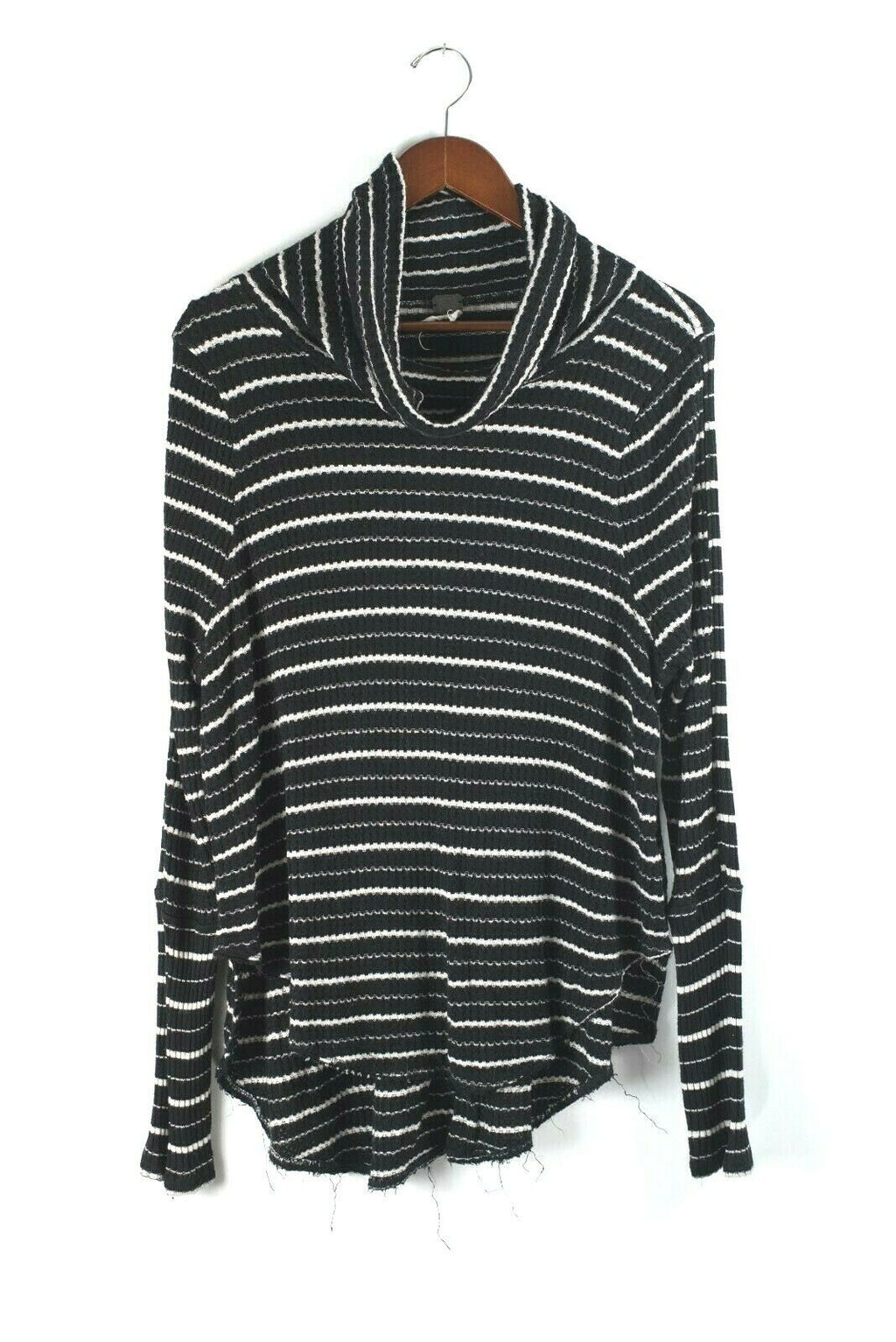 We The Free Womens Large Black White Turtleneck Kristina Stripe Waffle Thermal