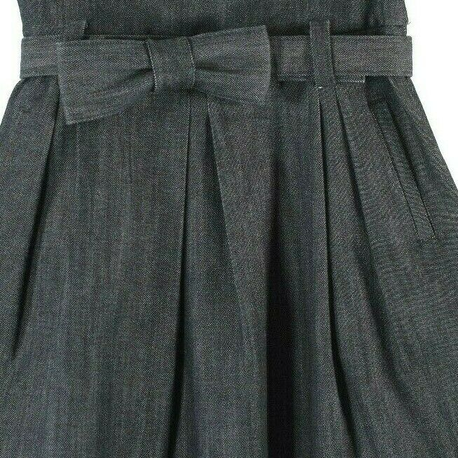 3.1 Phillip Lim Womens Size 4 Small Blue Jean Denim Paper Bag Pleated Bow Skirt