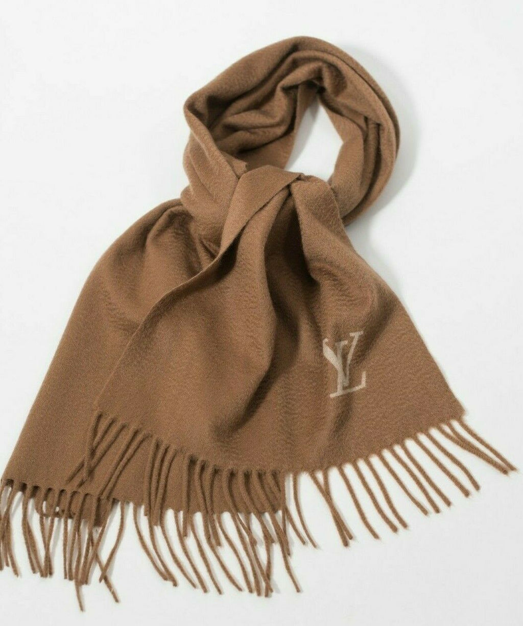 Louis Vuitton Womens Brown Jhelam Muffler Monogram Cashmere Logo Scarf