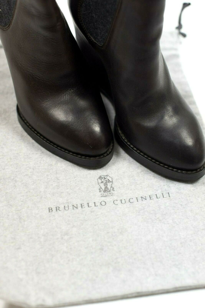 Brunello Cucinelli Womens Size 37 Brown Booties Wedge Shorts Boots Leather $1705