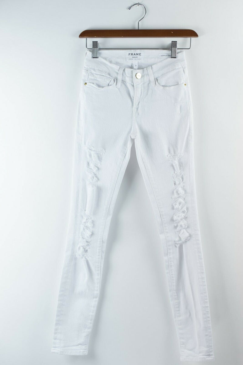 Frame Denim Womens Size 24 XXS White Jeans Le Skinny Distressed 5 Pocket Pants