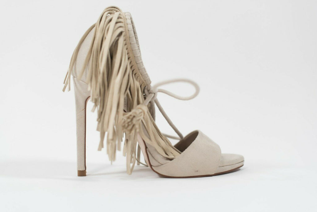 Zara Womens Size 36 Beige Sandals Fringe Tie Up Suede Tassel Open Toe Heel Shoes