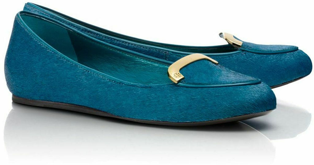 Tory Burch Womens Size 8 Teal Blue Jess Flats Calf Hair Gold Buckle Loafer Shoes