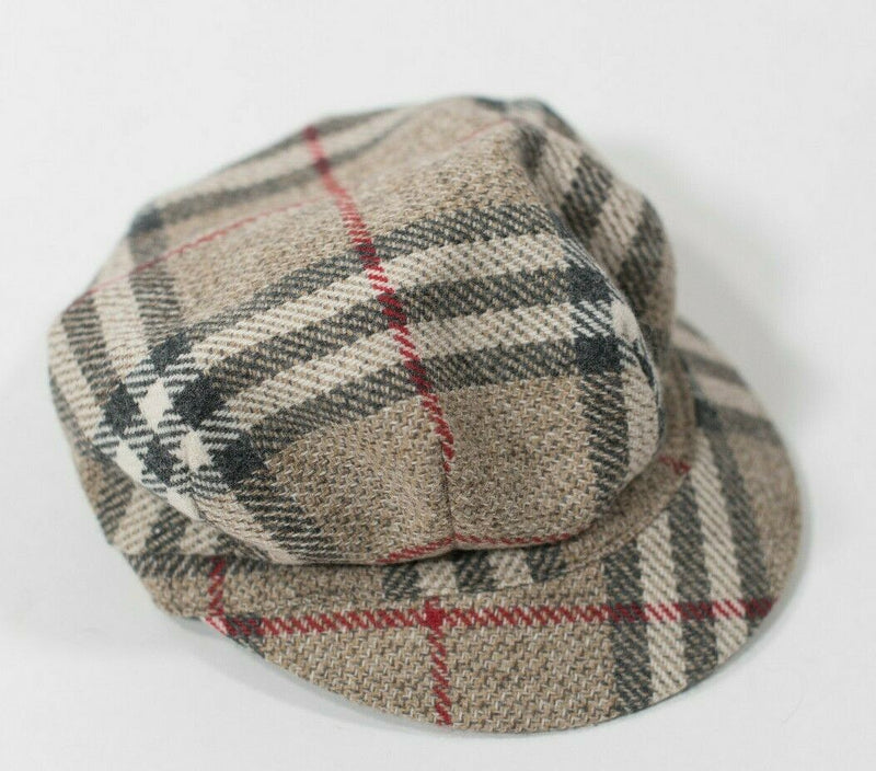 Burberry Women Small Brown Red Black Multi Color Newsboy Cap Hat Wool Nova Check
