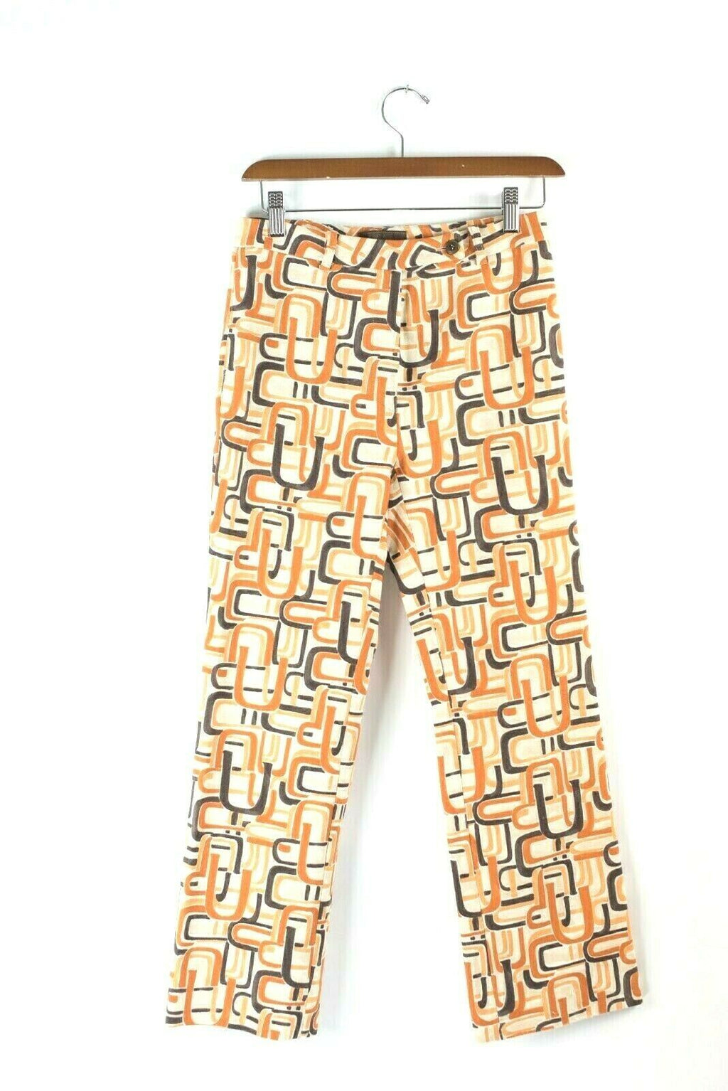 Prada Womens Size 42 Ivory Orange Trousers Straight Leg Pants Retro Vintage Rare