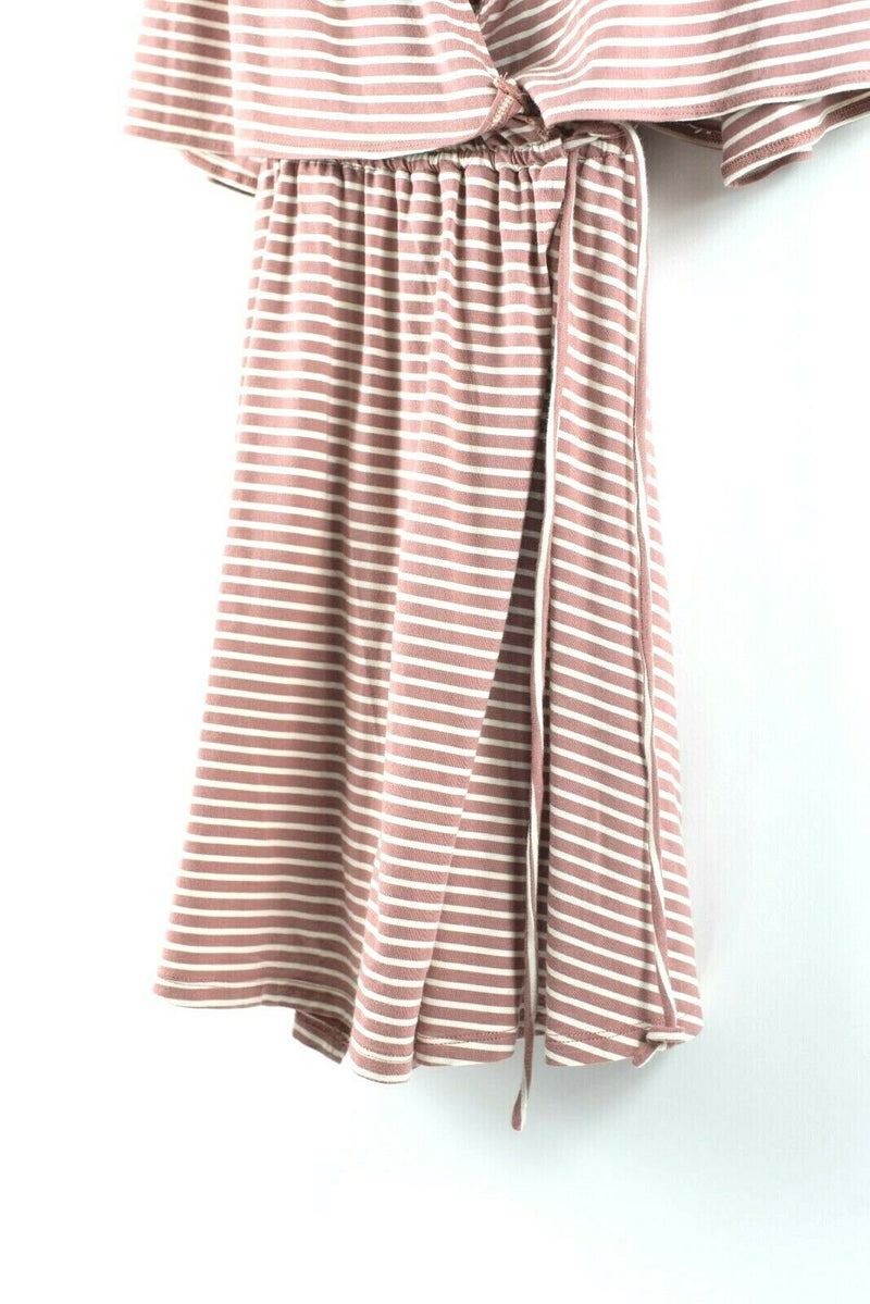 Lovers + Friends Womens Medium Pink Dress Coco Wrap Dress Sand Striped Mini $128