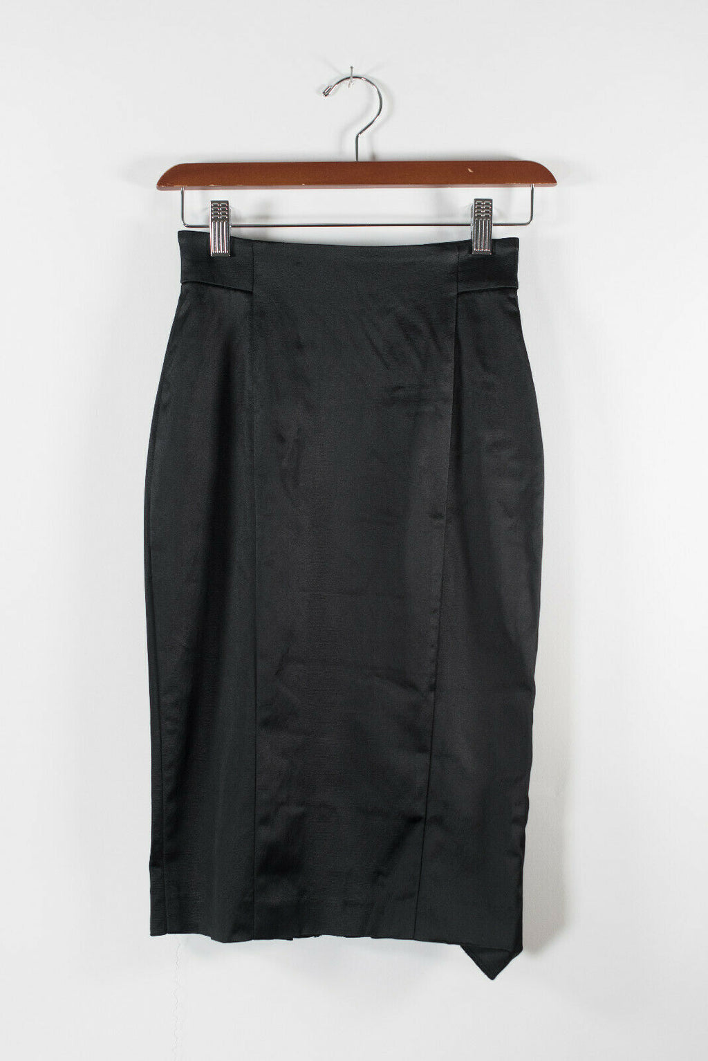 Bebe Womens 00 XXS Black Pencil Skirt Satin High Waisted Button Back Zip Mini