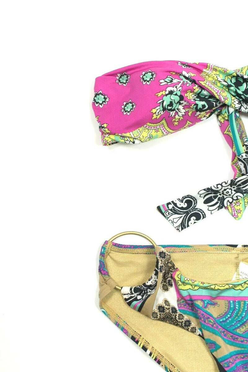 Vitamin A Womens 6 Small Gold Pink Green Swimsuit Paisley Bandeau Top Bikini 2pc