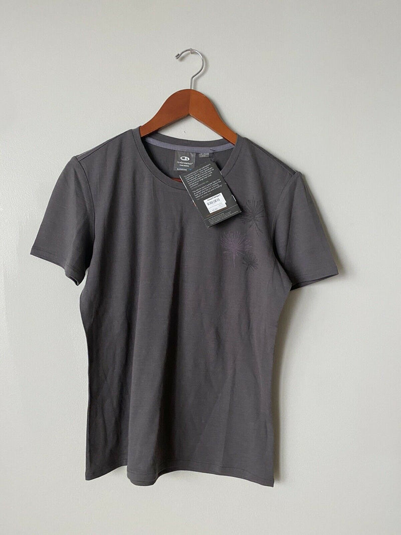 Icebreaker Women's Medium Gray Tee 100% Merino Wool Graphic T-shirt Crew NWT