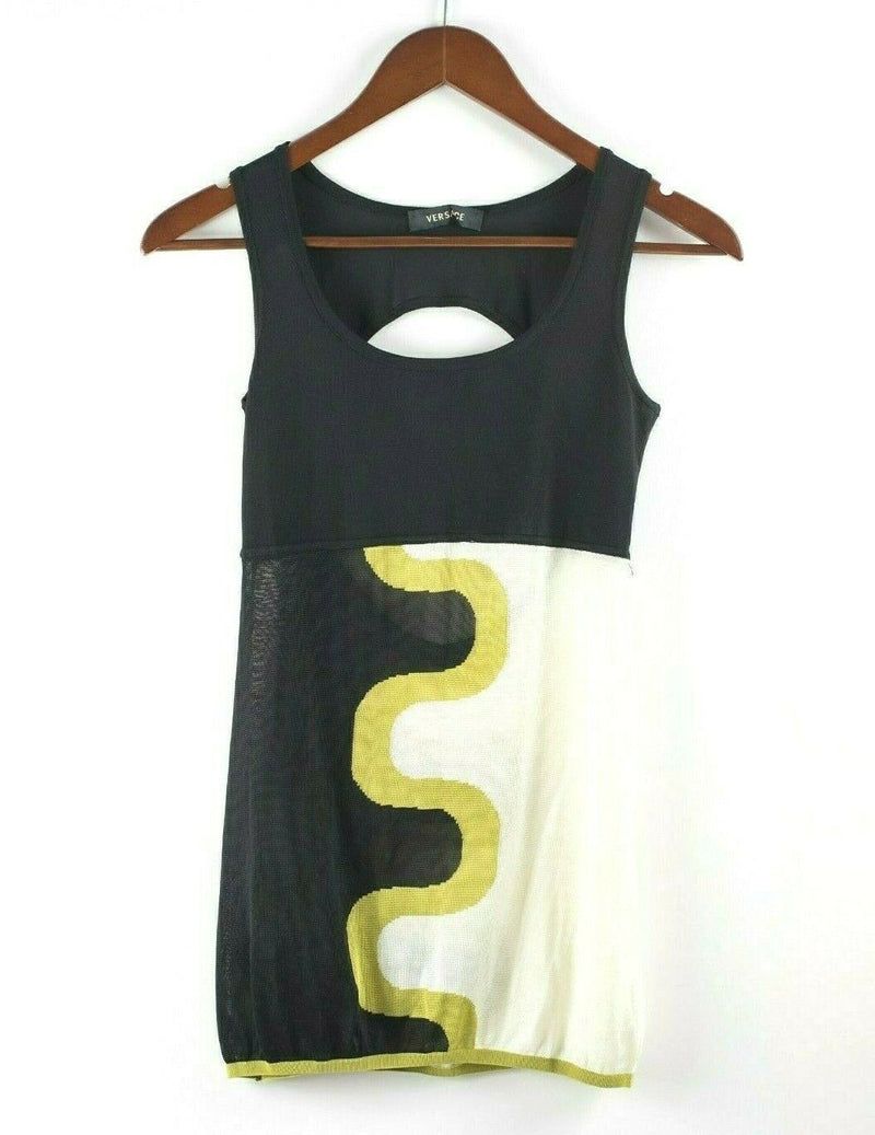 Gianni Versace Womens Small Black Cream Green Tank Top Shirt Swirl Knit Blouse