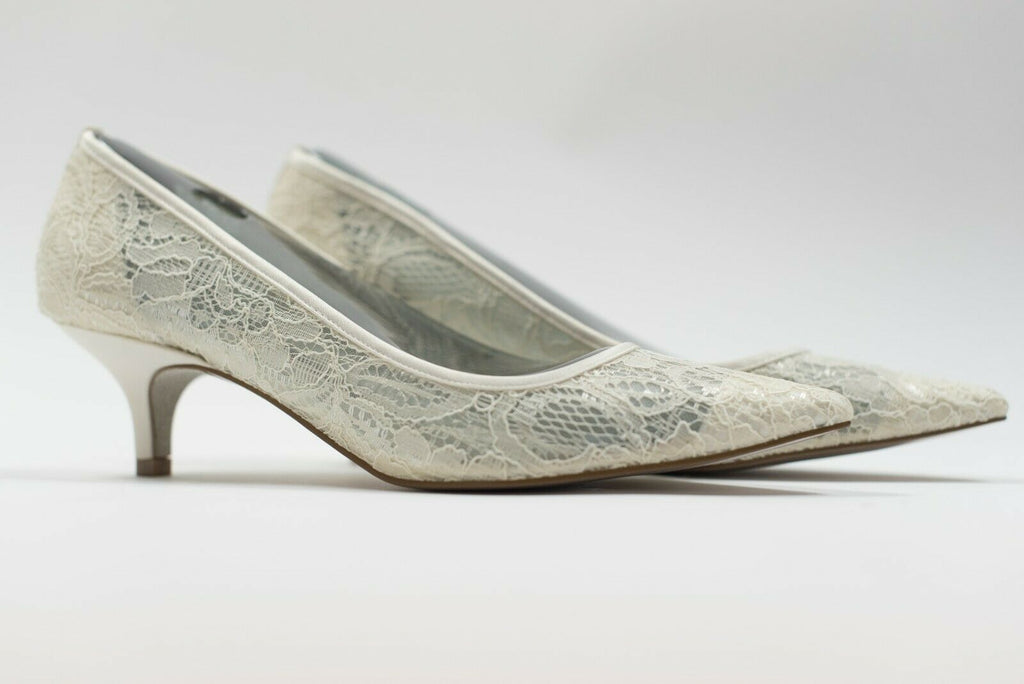 Adrianna Papell Womens Size 9 US/39 EU Ivory Pumps Lois-LC Kitten Heel Lace New
