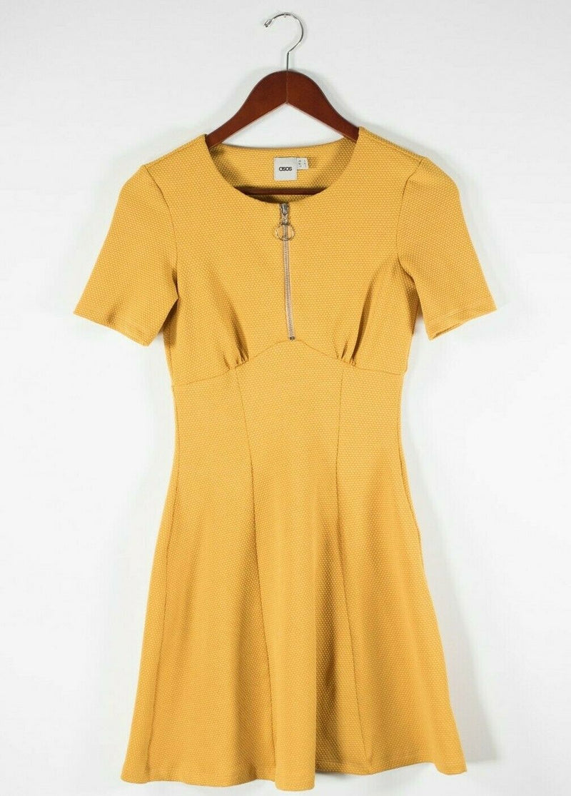 ASOS Womens Size 2 XS Yellow Dress Exposed Zipper Front Embossed Skater Mini