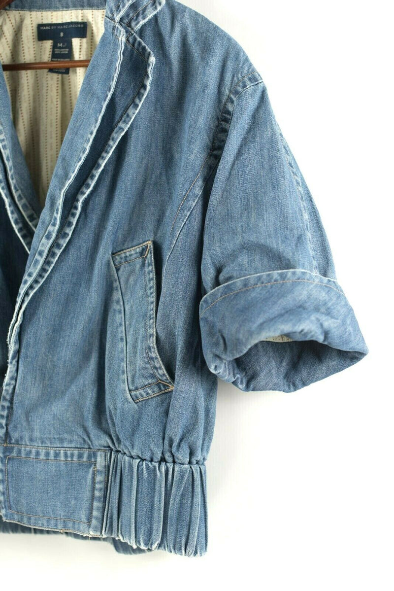 Marc Jacobs Womens Size 8 Medium Blue Jacket Denim Jean Jacket With Zippers VTG