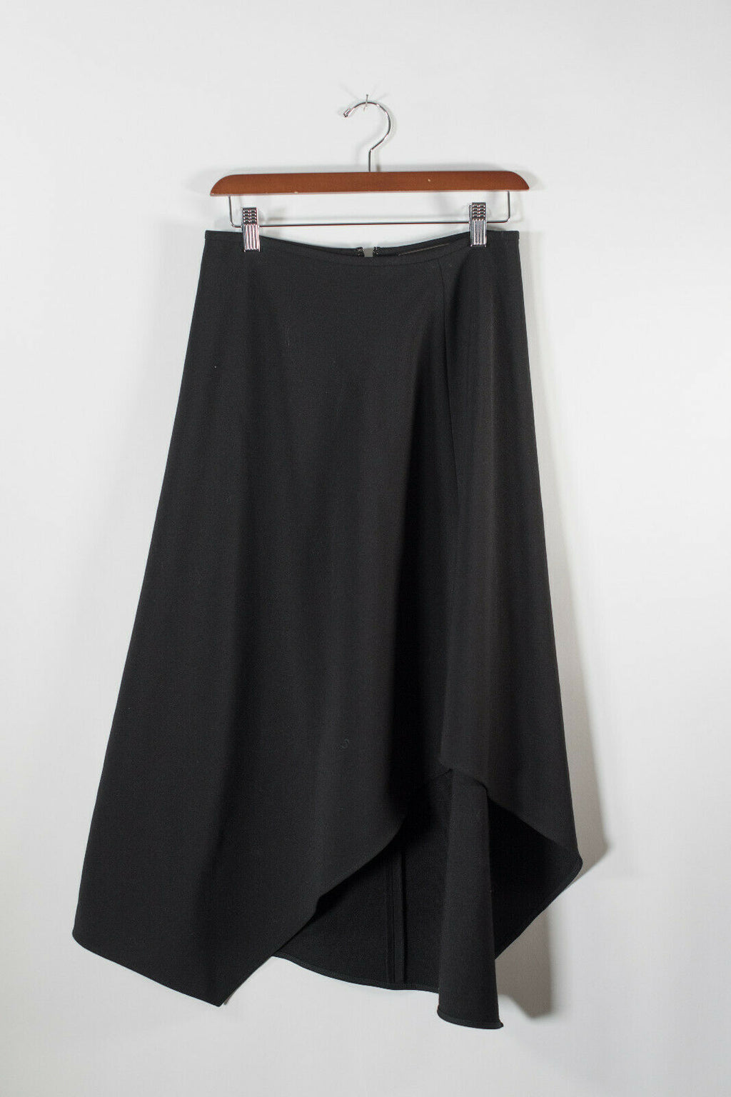 BCBG Max Azria Womens Size 2 XS Black Skirt Asymmetrical Midi Long Maxi Back Zip