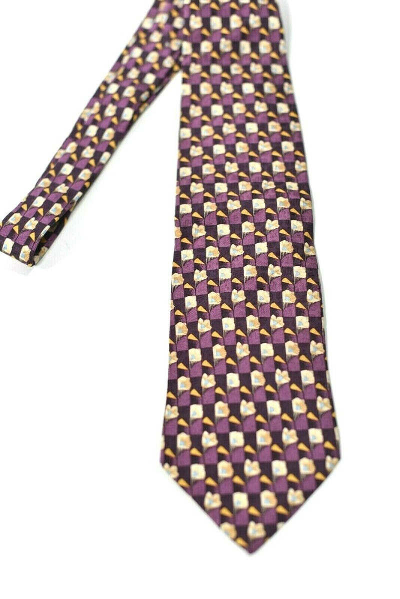 Ermenegildo Zegna Mens Yellow Purple Neck Tie Geometric Pattern Classic Silk Tie