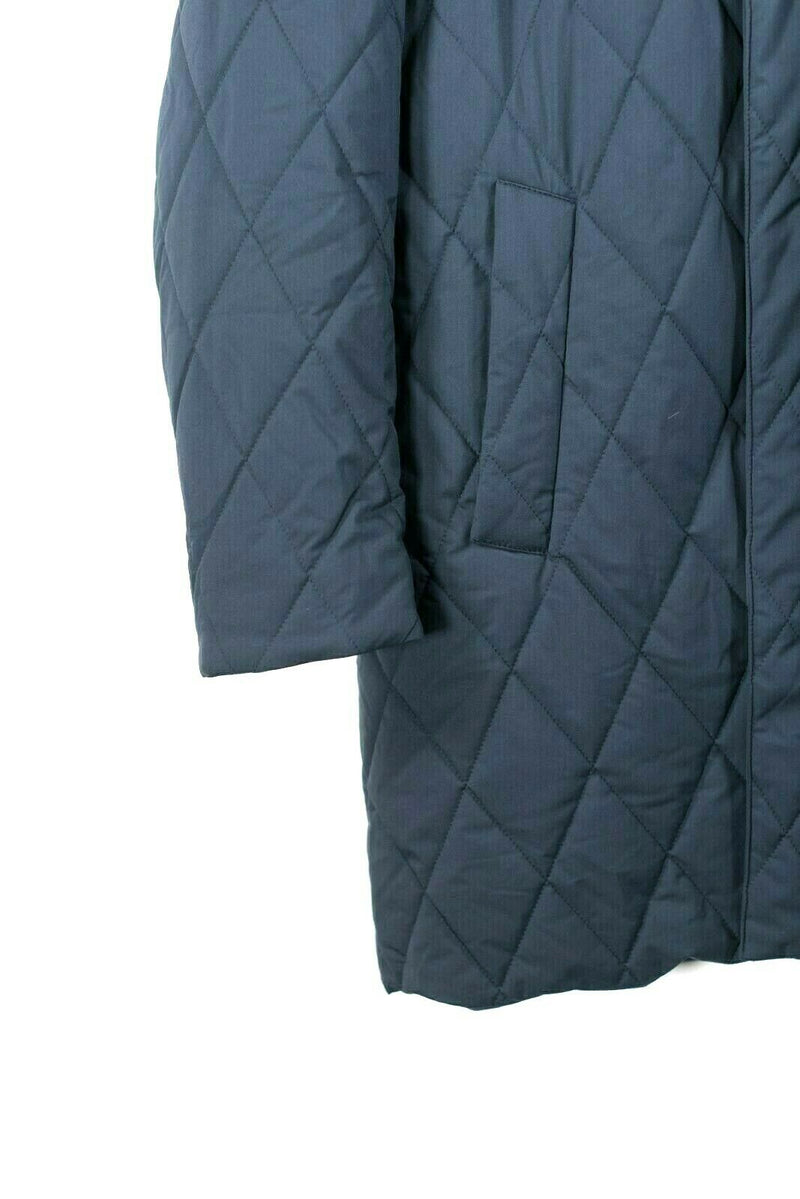 Loro Piana Womens XL Blue Parka Storm System Quilted Puffer Hooded Trench Coat