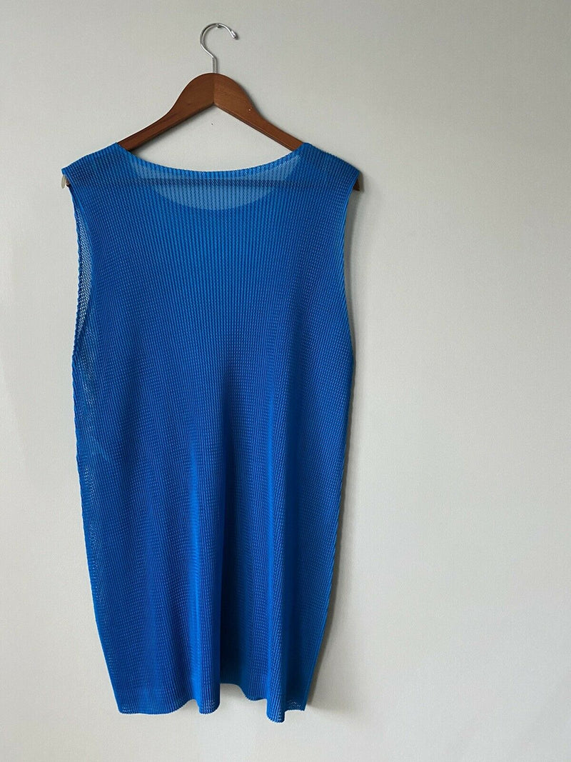 Pleats Please Issey Miyake Women's Size 5 US8 Blue Tank Top Long Tunic Top Shirt