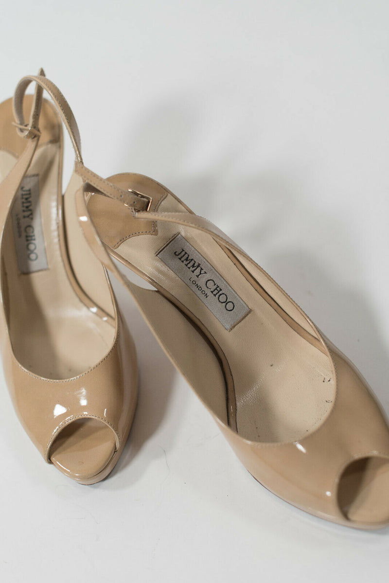 Jimmy Choo Womens 38 Beige Slingback Peep Toe Patent Leather High Heel Pumps