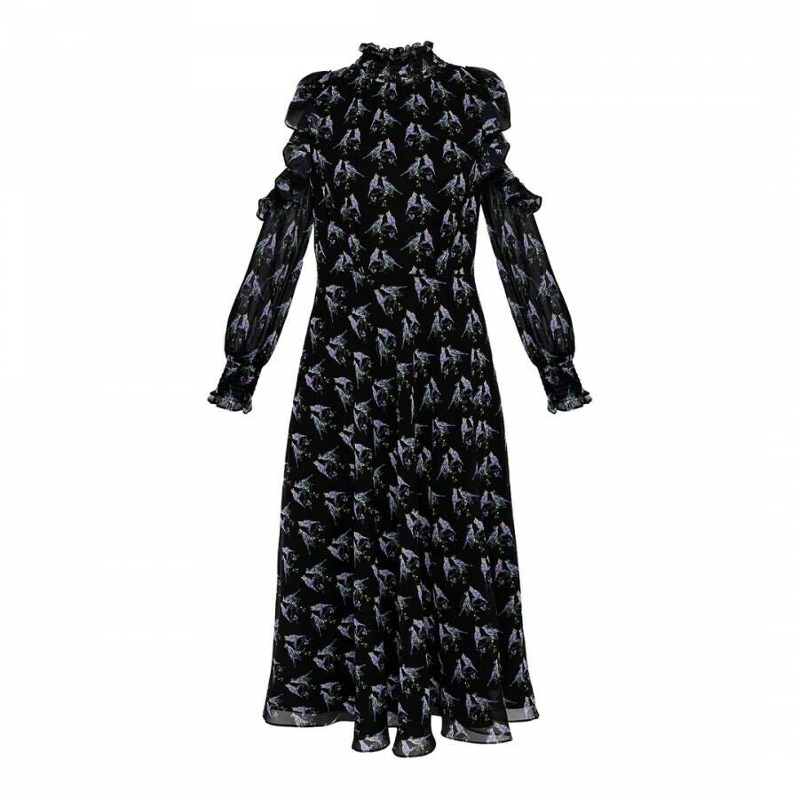 Ted Baker Womens Size 2 Black Purple Hilania Love Birds Cold Shoulder Midi Dress