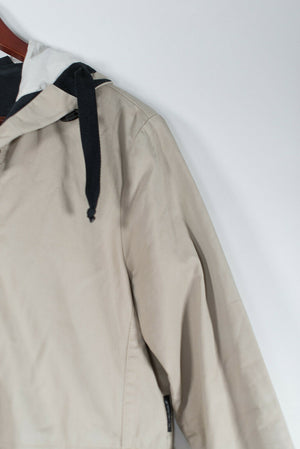 Armani Jeans Womens Size 2 XS Beige Jacket Hooded Coat Drawstring Cotton Anorak