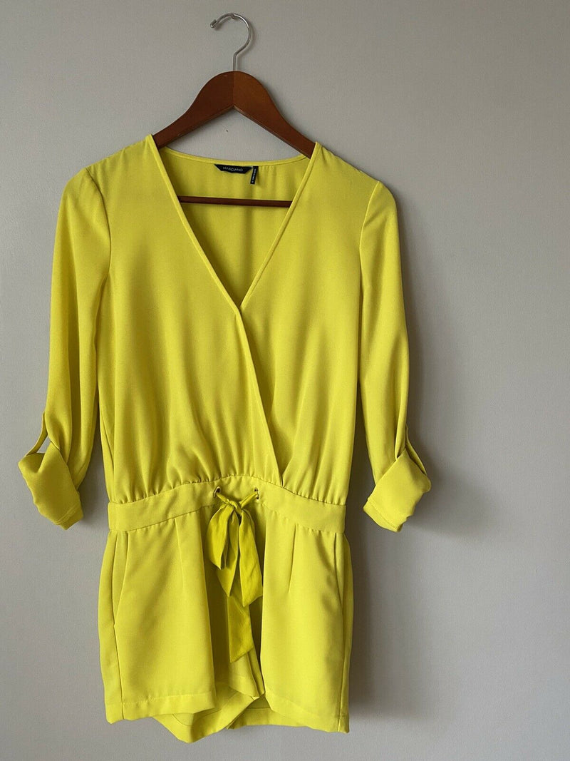 Marciano Women's Size 0 XS Yellow Romper Long Sleeve Tie Cuff Deep V Neck Shorts
