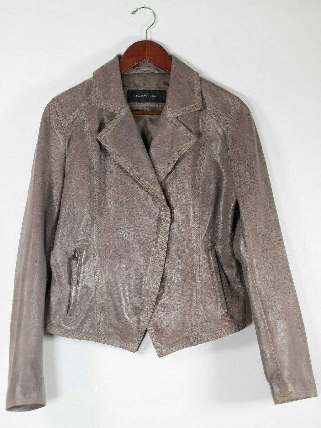 Elie Tahari Womens Small Brown Jacket Soft Leather Short Zip Moto Asymmetrical