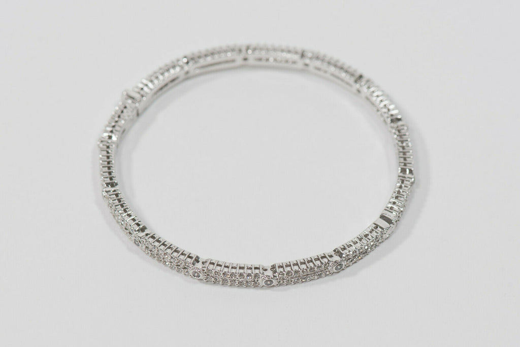 Nadri 925 Silver Pave Crystal Hinged Box Clasp Bangle