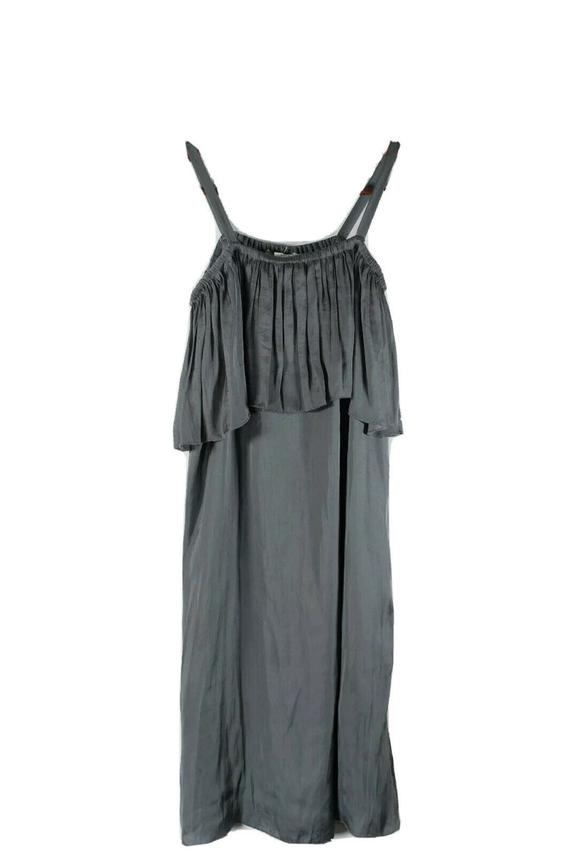 Wilfred Aritzia Women XS Grey Brosset Dress Sleeveless Ruffle Satin Slip NWT