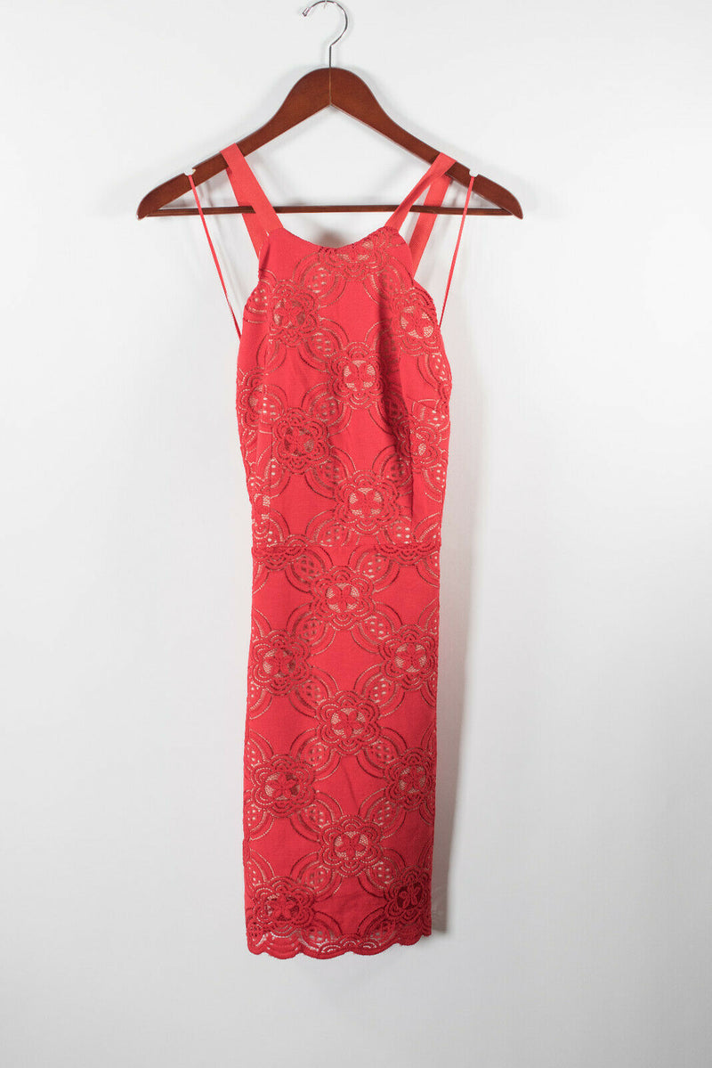 Endless Rose Womens Medium Red Dress Floral Lace Mini Crisscross Back Straps NWT
