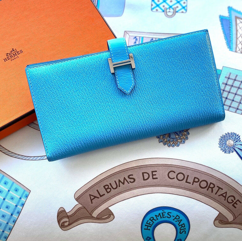 Hermes Bearn Blue Azur Credit Card Coin Long H Epsom Leather Wallet