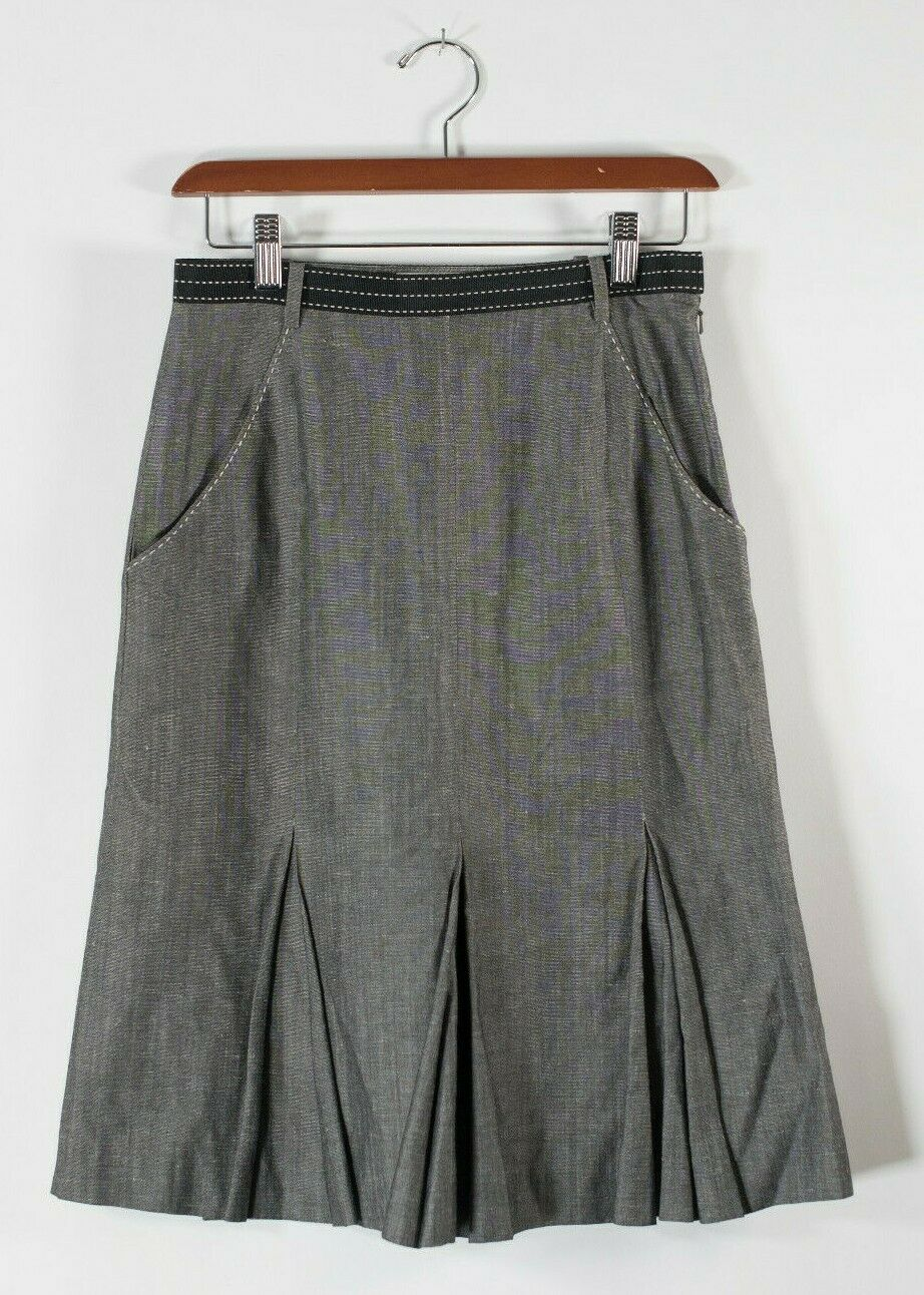 Giada Italy Womens Size 40 Small Grey Skirt A Line Flare Hem Pockets Pleated