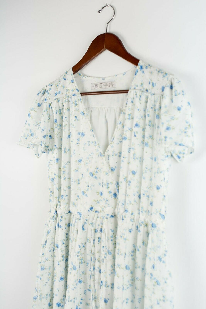 Christy Dawn Womens Medium White Blue The Dawn Dress