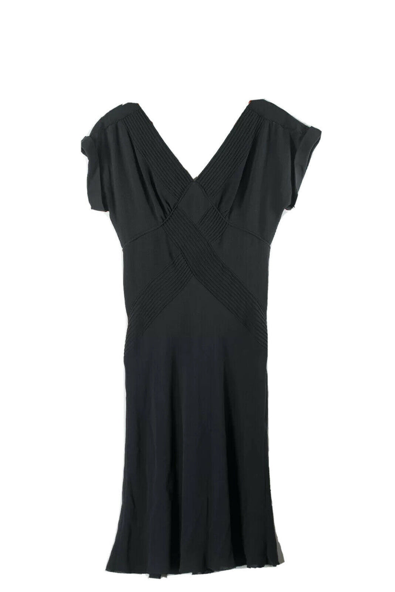 Diane Von Furstenberg Womens Black Size 8 Dress Ribbed Silk