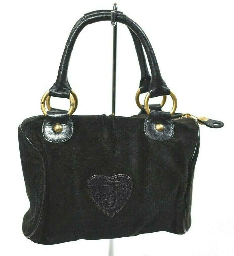 Juicy Couture Womens Black Shoulder Bag Velour Purse Handbag Mini Cell Pouch VTG