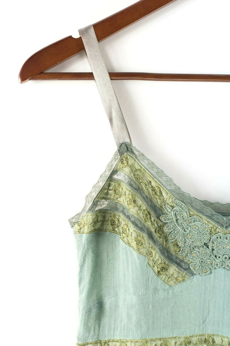 Free People Womens Size Small Green Tank Top Striped Lace Embroidered Shirt Top