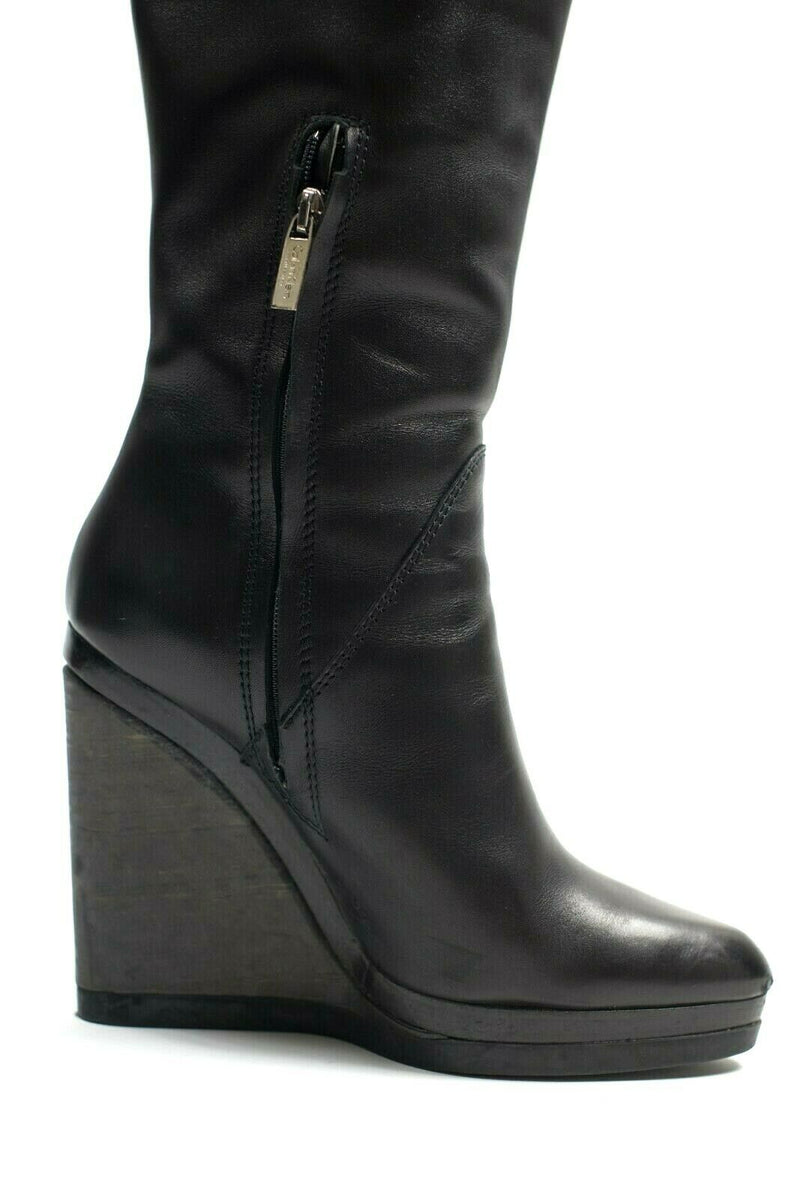 Calvin Klein Collection Womens Size 38 Black Boots Leather Wedge Dominique $1200