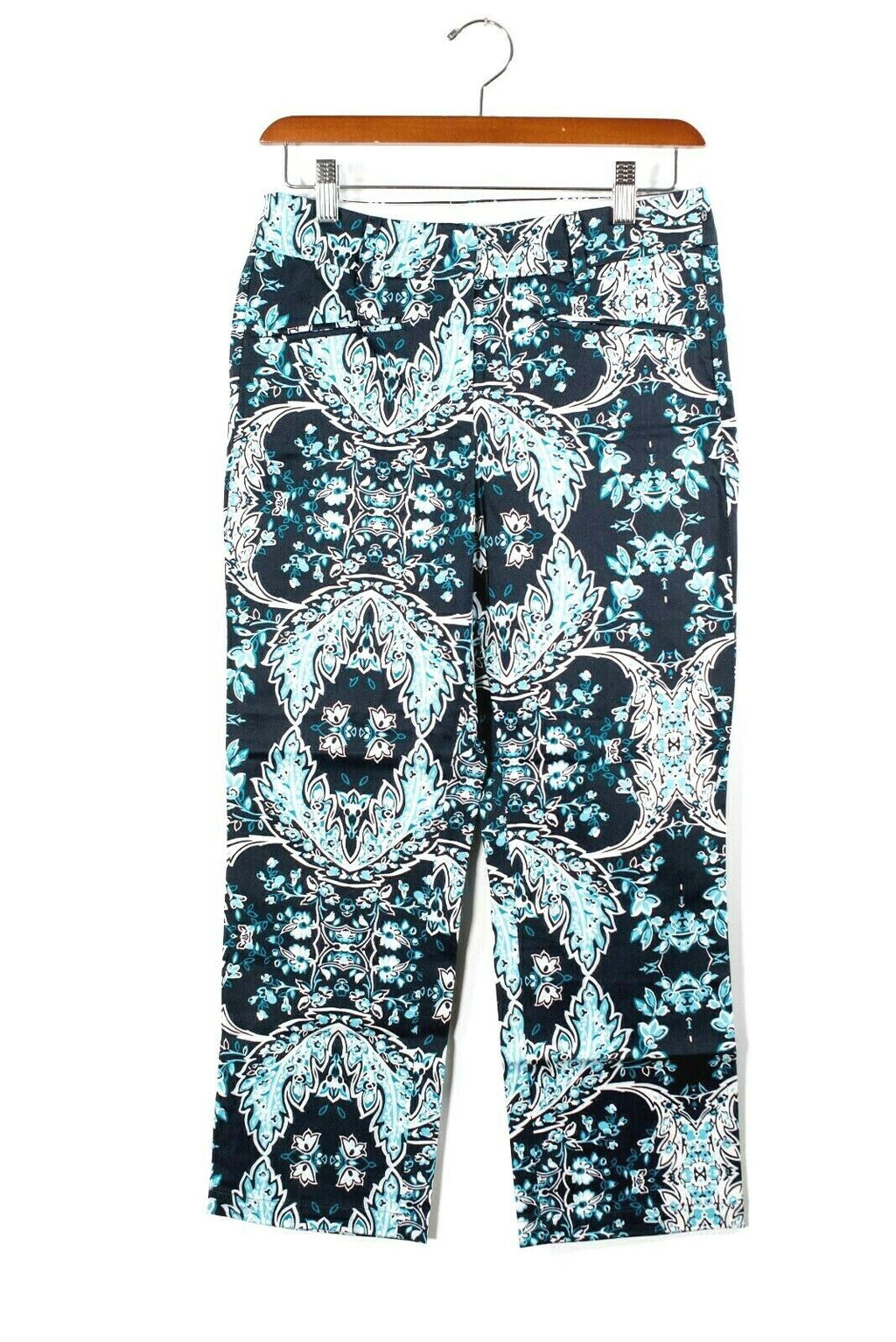 Max Mara Sportmax Code Womens Size 0 XS Blue Pants Paisley Print Crop Trousers