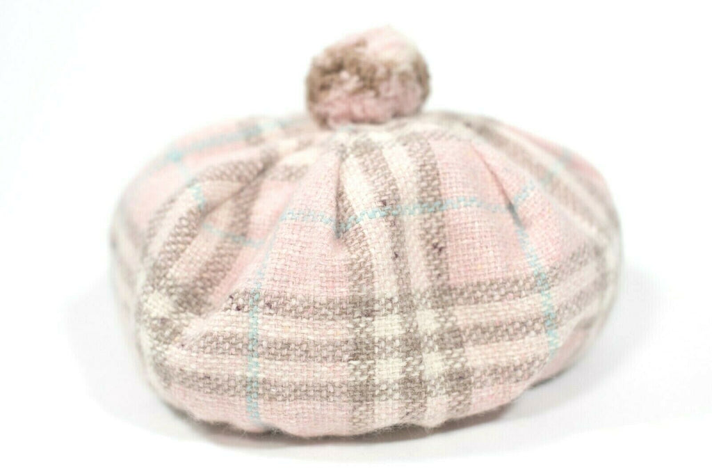 Burberry London Womens Pink Hat Vintage Nova Check Knit Lambswool Pom Pom Beret