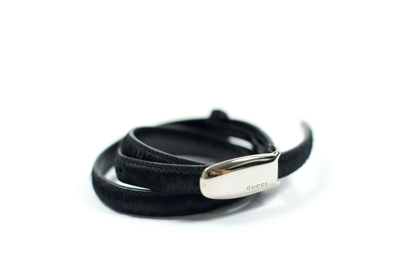 Gucci Womens XS Black Waist Belt Thin Pony Hair Leather Authentic Vintage Belt
