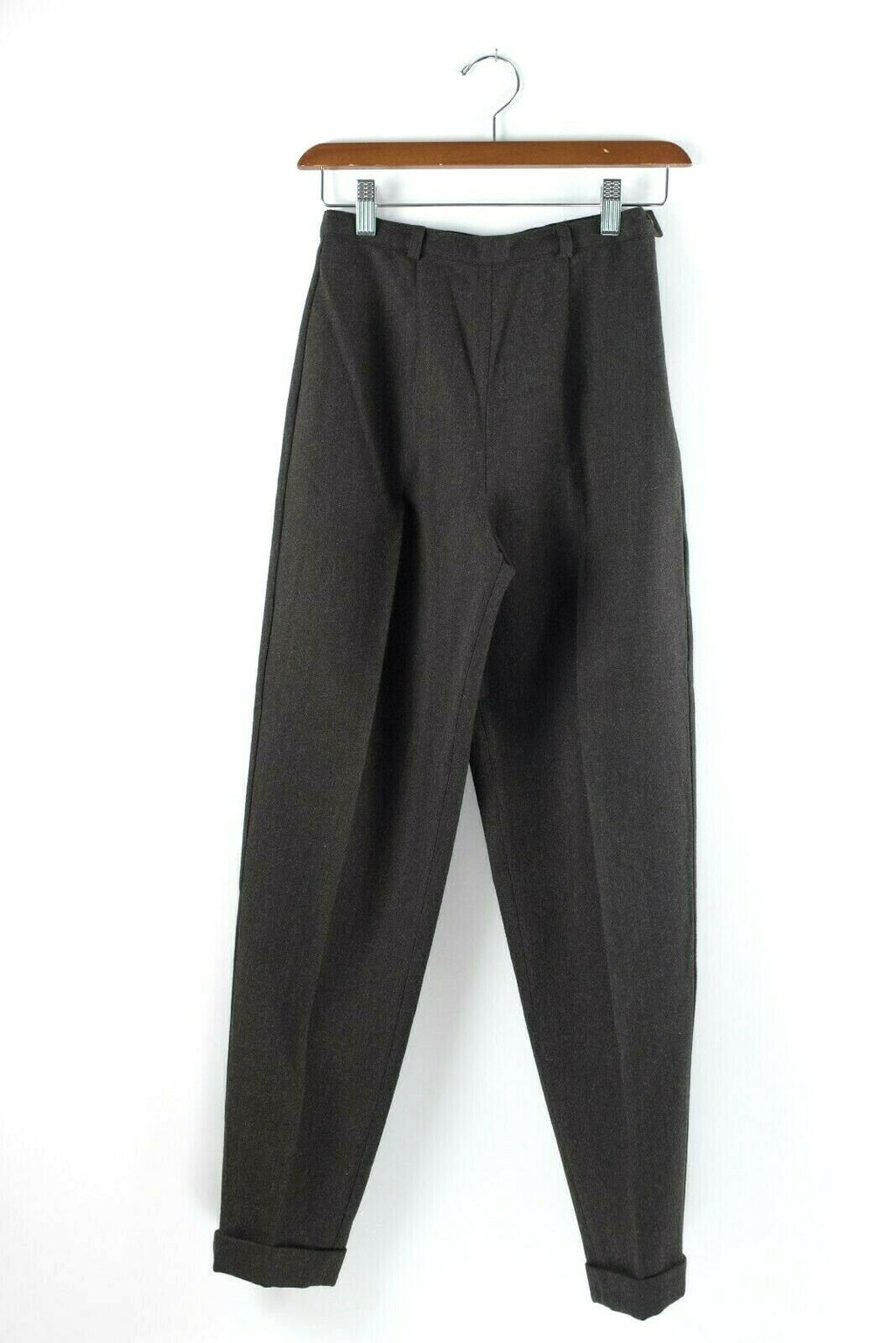 Max Mara Womens Size 4 Small Brown Trousers Dark Side Zip Slim Vintage Pants