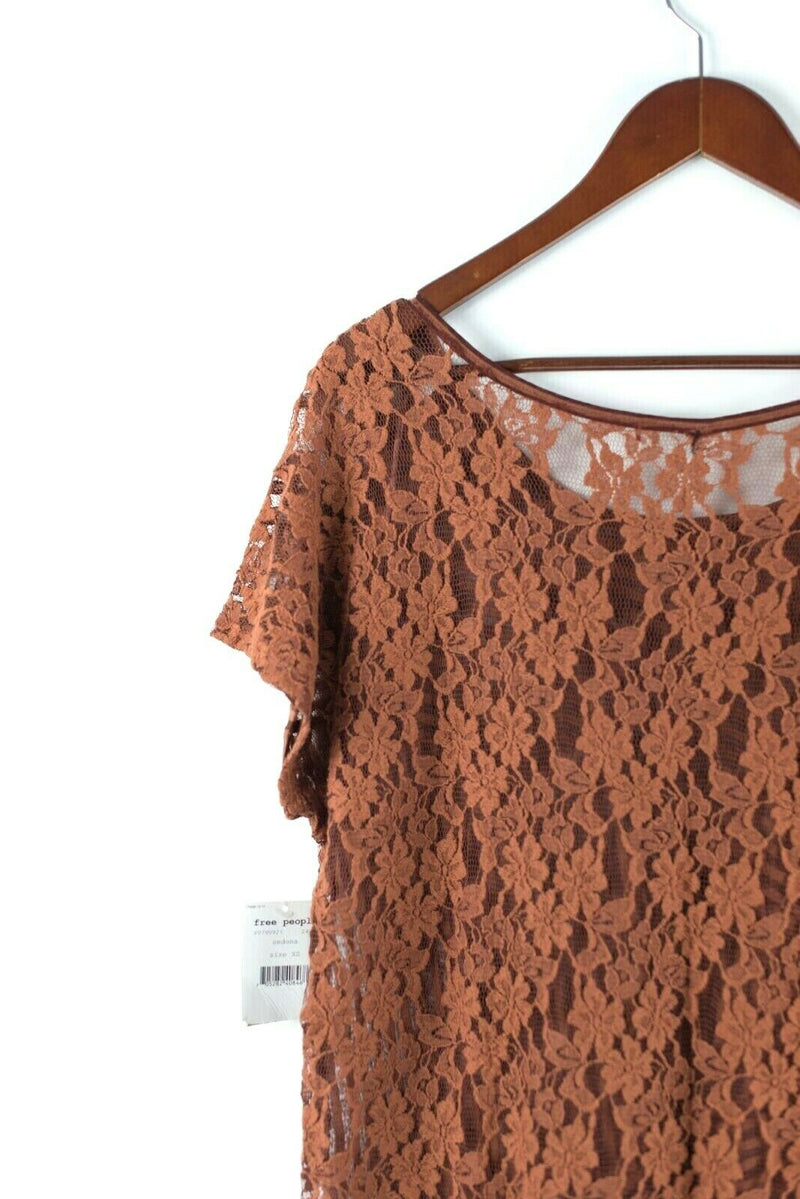 Free People Womens Size XS Orange Top Pullover Striped Hi Low Lace T Shirt NWT