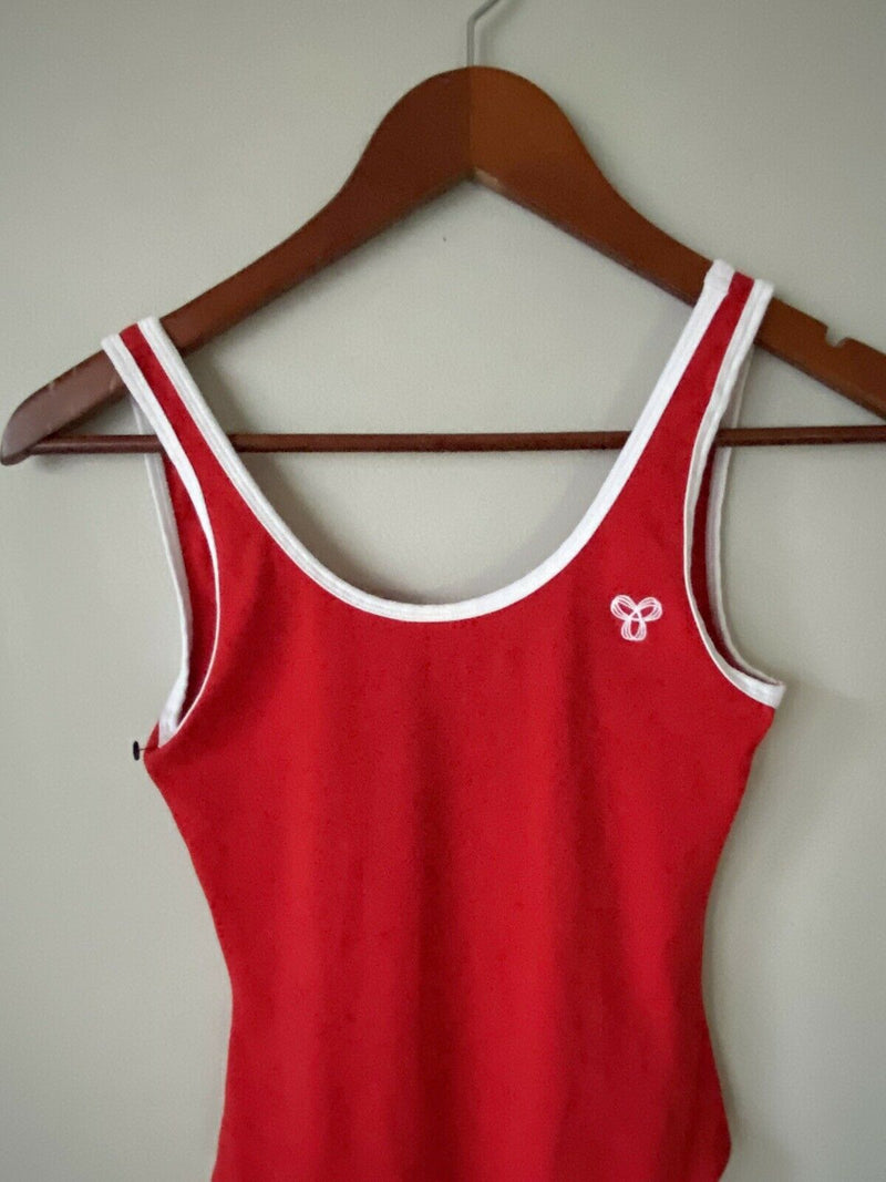 Aritzia TNA Women's Size XXS Red Bodysuit Cotton Tank Low Back Thong Tank Top