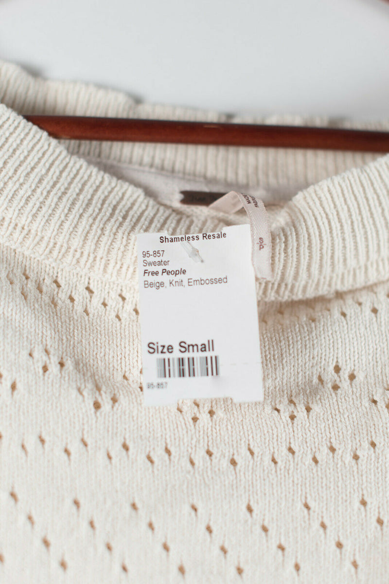 Free People Womens Small Ivory Sweater Knit Embossed Cotton Linen Short Sleeve