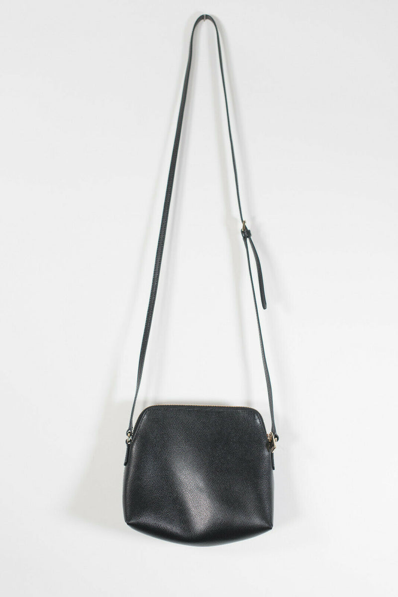 Furla Boheme XL Onyx Black Crossbody Bag Leather Shoulder Strap Italy Purse $330
