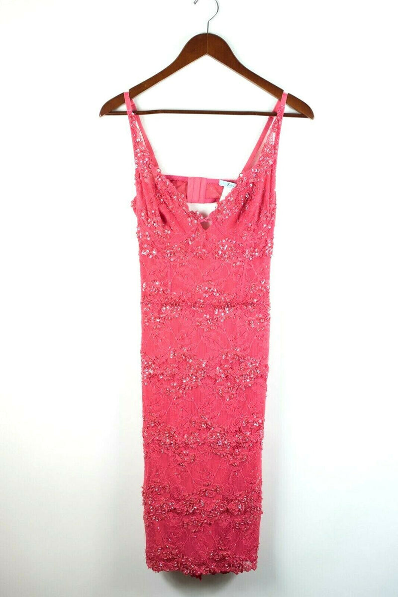 Marciano Womens Size Medium Fuschia Pink Dress Lace Sexy Buster Jewelled Beaded