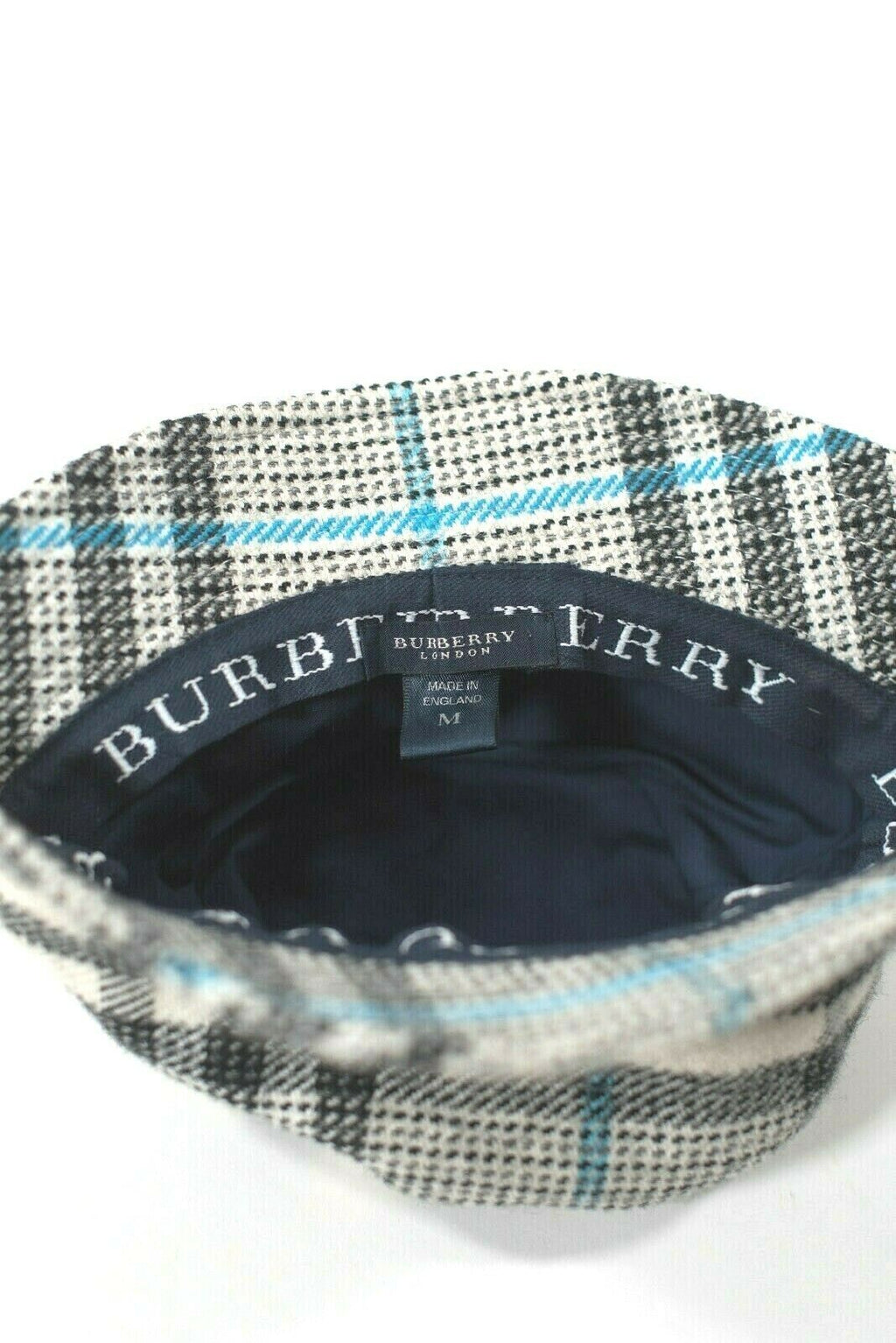 Burberry London Medium Ivory Blue Black Bucket Hat Nova Check Plaid Wool Cap
